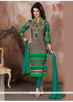 Aristocratic Raw Silk Green Churidar Designer Suit