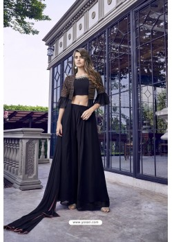 Navy Blue Georgette And Satin Designer Suit