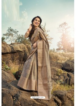 Light Brown Cotton Jacquard Worked Saree