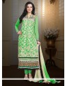 Admirable Green Faux Georgette Churidar Suit