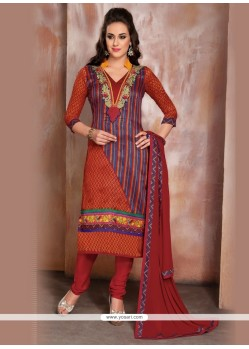 Multi Colour Raw Silk Churidar Designer Suit
