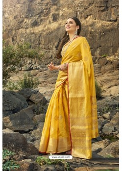 Yellow Cotton Jacquard Worked Saree