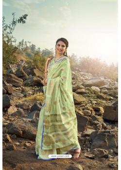 Sea Green Cotton Jacquard Worked Saree
