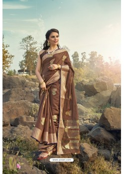 Brown Cotton Jacquard Worked Saree