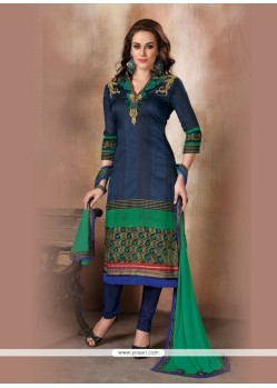 Piquant Navy Blue Embroidered Work Raw Silk Churidar Designer Suit