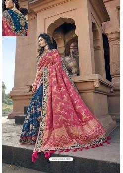 Rani And Pink Silk Heavy Embroidered Wedding Saree