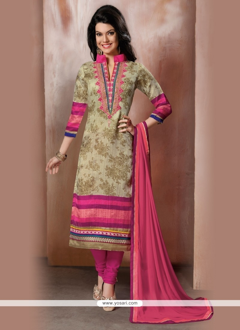 Dilettante Embroidered Work Raw Silk Churidar Designer Suit