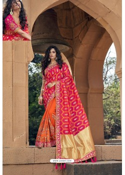 Fuchsia And Orange Silk Heavy Embroidered Wedding Saree