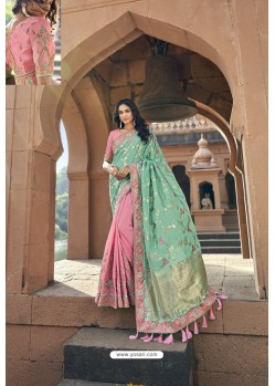 Sky And Pink Silk Heavy Embroidered Wedding Saree