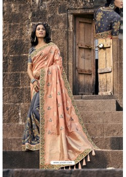 Peach And Grey Silk Heavy Embroidered Wedding Saree