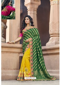 Dark Green And Yellow Silk Heavy Embroidered Wedding Saree