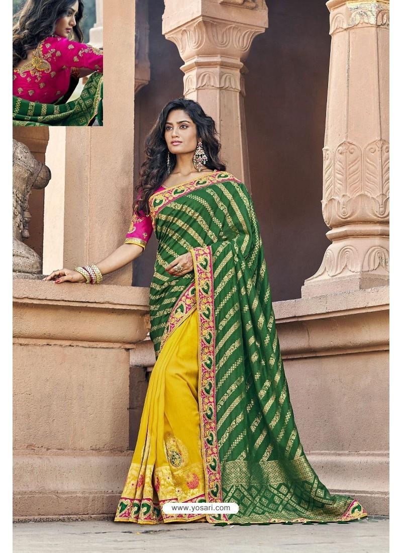 Dark Green And Yellow Silk Heavy Embroidered Wedding Saree