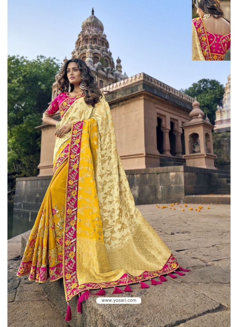Cream And Yellow Silk Heavy Embroidered Wedding Saree