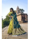 Teal Blue And Lemon Silk Heavy Embroidered Wedding Saree
