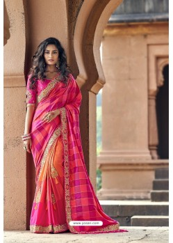 Rani And Orange Silk Heavy Embroidered Wedding Saree