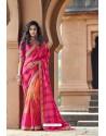 Rani And Orange Silk Heavy Embroidered Wedding Saree