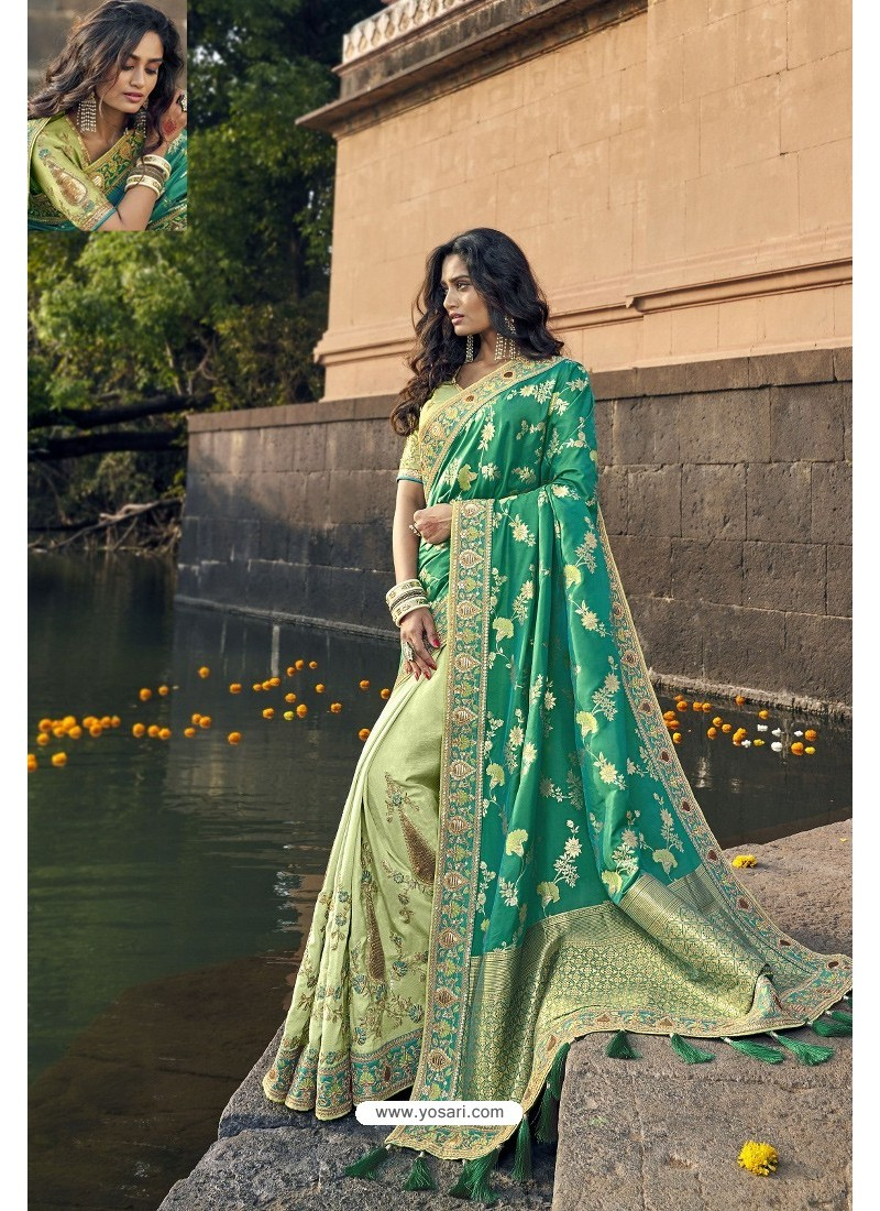 Mint And Green Silk Heavy Embroidered Wedding Saree