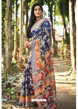 Navy And Multi Fancy Cotton Printed Saree