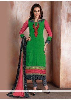 Sensible Green Patch Border Work Churidar Designer Suit