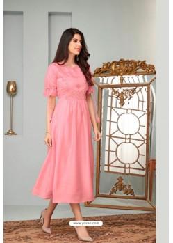 Pink Heavy Cotton Readymade Kurti