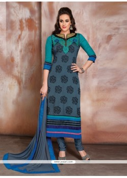 Zesty Blue Churidar Designer Suit