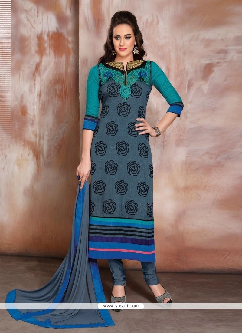 Zesty Blue Churidar Designer Suit