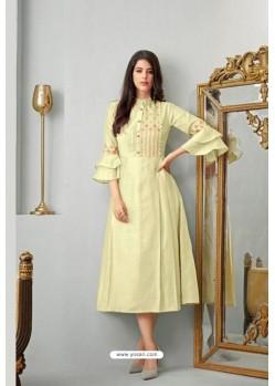 Yellow Heavy Cotton Readymade Kurti