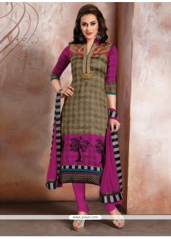 Vehemently Raw Silk Patch Border Work Churidar Designer Suit