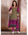 Vehemently Raw Silk Patch Border Work Churidar Designer Suit
