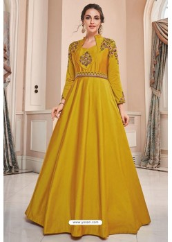Yellow Soft Upada Silk Party Wear Gown