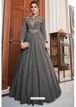 Grey Soft Upada Silk Party Wear Gown