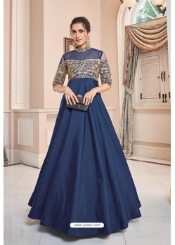 Navy Blue Soft Upada Silk Party Wear Gown