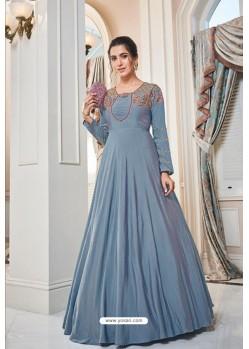 Aqua Grey Soft Upada Silk Party Wear Gown