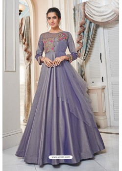 Mauve Soft Upada Silk Party Wear Gown