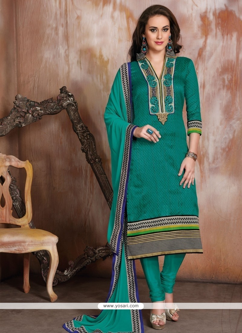 Magnetic Green Raw Silk Churidar Designer Suit