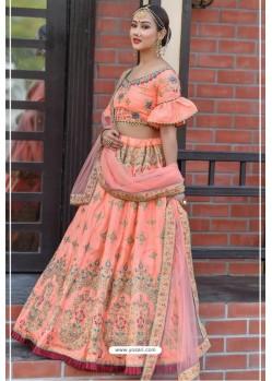 Peach Chennai Silk Designer Lehenga Choli