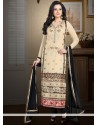 Pristine Beige Faux Georgette Churidar Suit