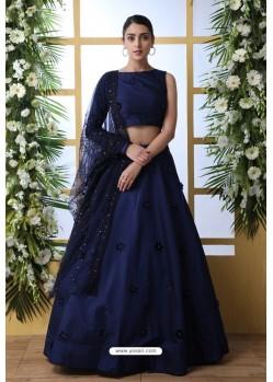 Navy Blue Taffeta Silk Designer Lehenga Choli