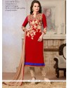 Enchanting Red Lace Work Georgette Churidar Salwar Kameez