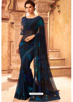 Navy And Black Kasata Georgette Designer Saree