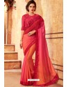 Red And Multi Raibow Silk Designer Saree