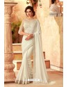 Off White Feather Silk Designer Saree