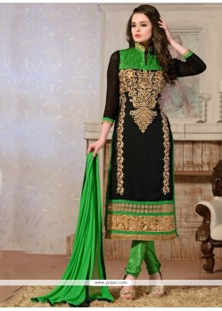 Peppy Georgette Black Churidar Salwar Kameez