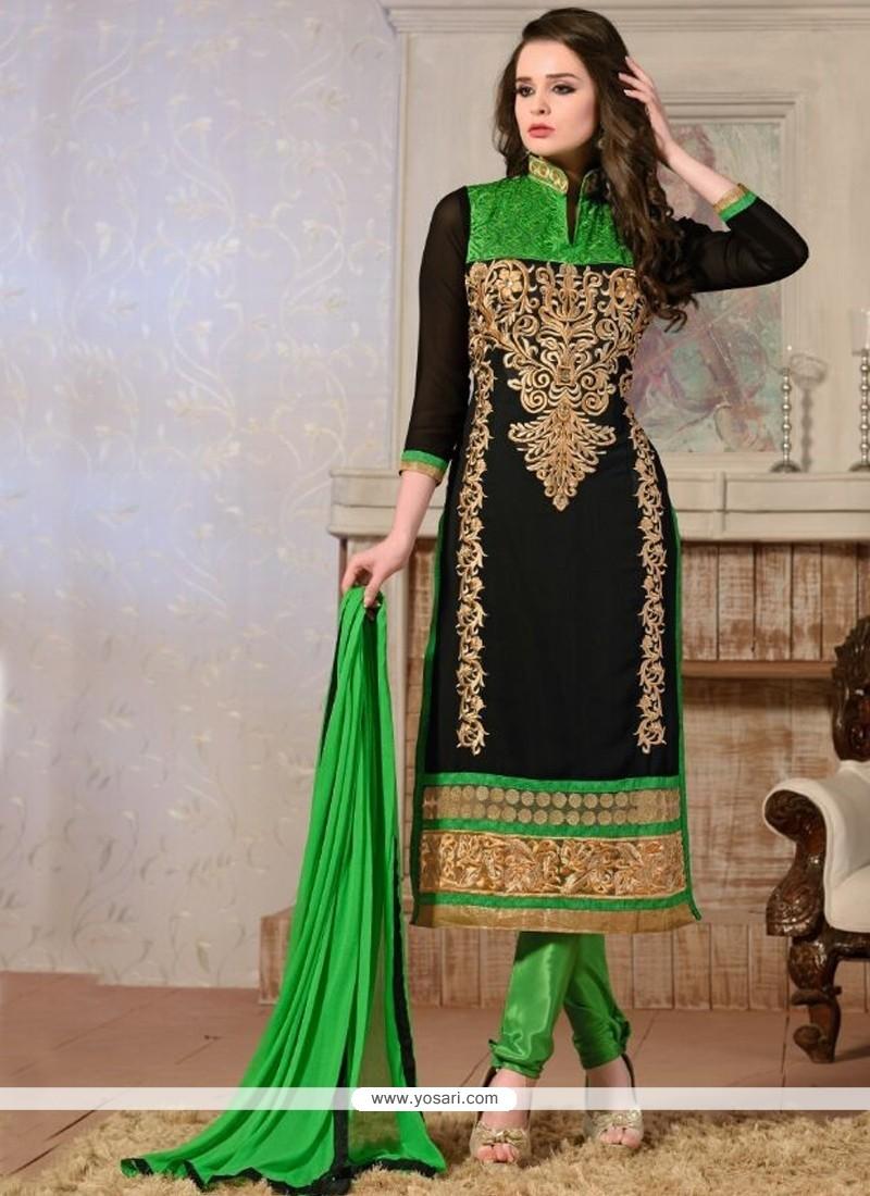 Peppy Georgette Black Churidar Salwar Kameez