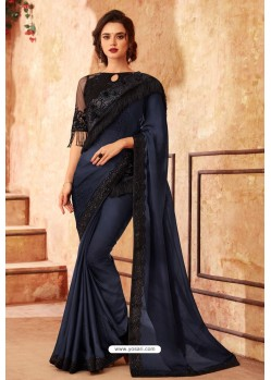 Navy Blue Sabya Silk Designer Saree