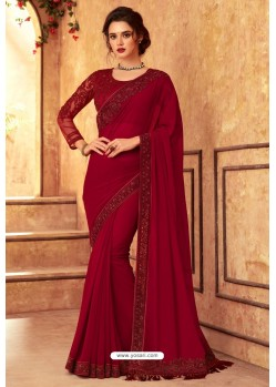 Red Lotus Georgette Silk Designer Saree