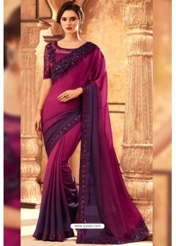 Medium Violet Milano Silk Designer Saree