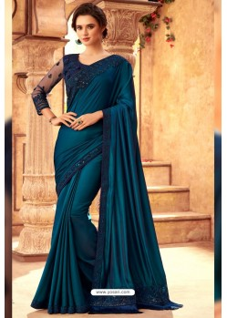 Teal Blue Sabya Silk Designer Saree