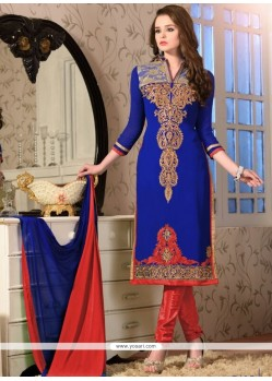 Superlative Georgette Embroidered Work Churidar Salwar Suit