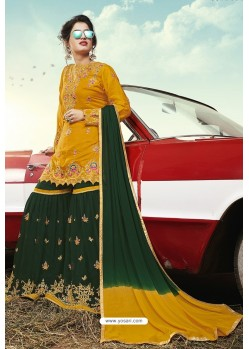 Mustard And Green Party Wear Satin Sharara Suit